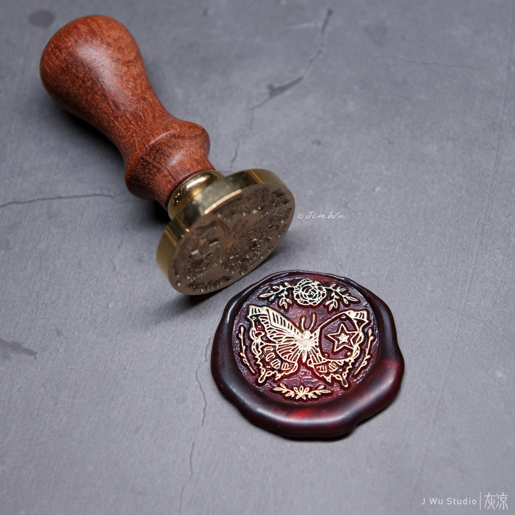 Metallic Butterfly original vintage wax seal stamp