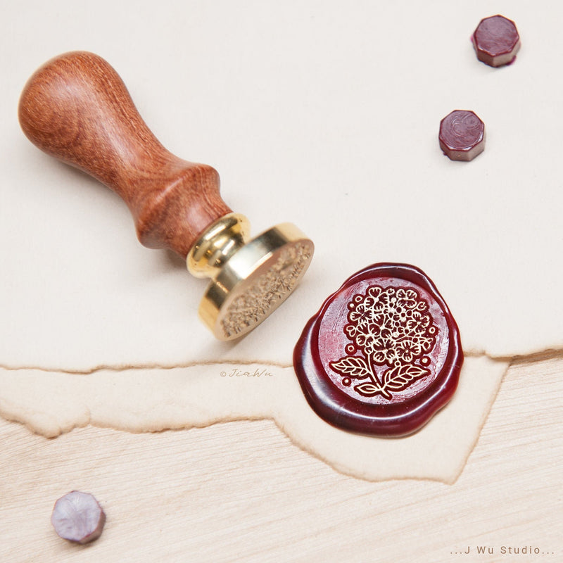 Hydrangea original vintage wax seal stamp