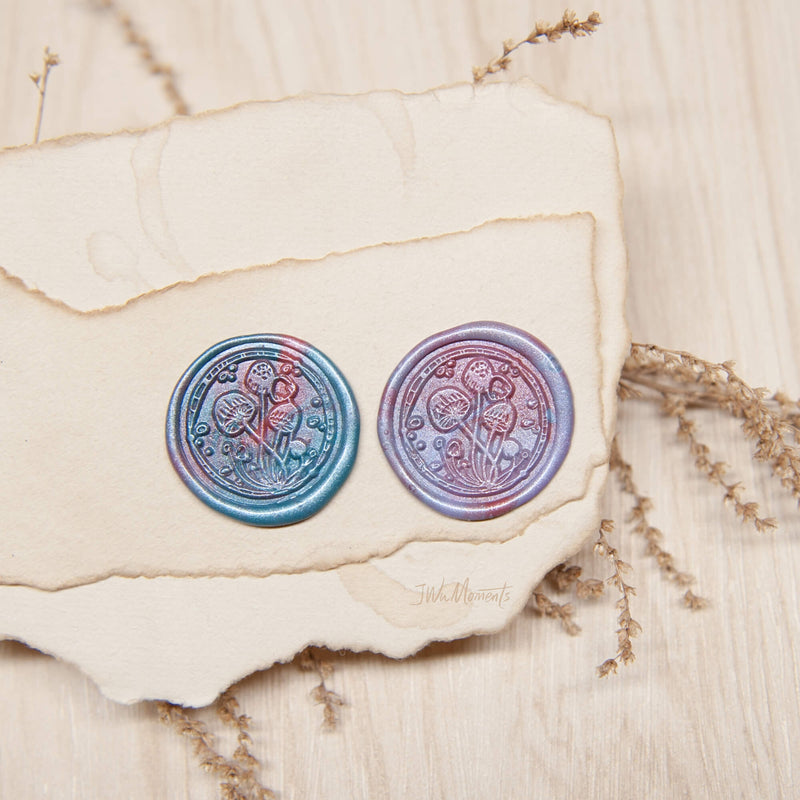 Mushrooms original vintage wax seal stamp