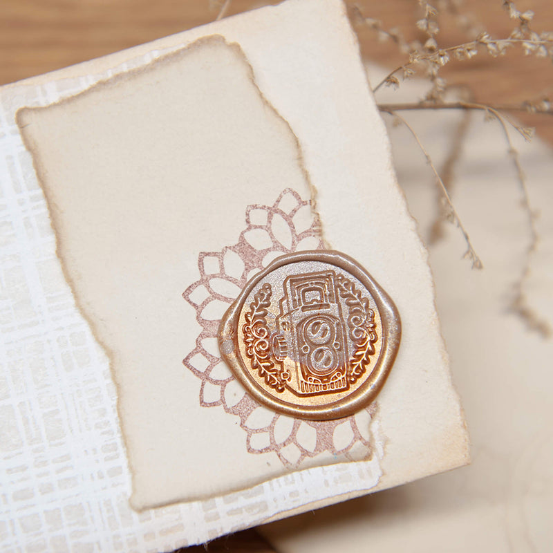 vintage camera wax seal stamp original design