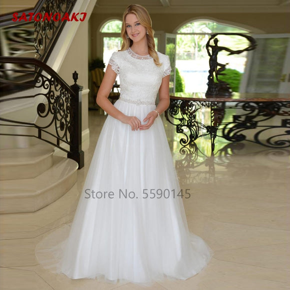 SATONOAKI New Arrival Boho Modest Cap Sleeves Long Wedding Dresses Buttons Back Lace top Beaded Belt Tulle Skirt Bridal Gowns