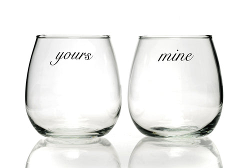 Yours Mine Glasses - Snowden Flood Oxo Studio Shop - Number 2 of our 5 top wedding gifts ideas.  www.snowdenflood.com