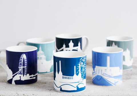 London Landmark River mugs - Snowden Flood Oxo Studio Shop - Number 3 of our 5 top wedding gifts ideas.  www.snowdenflood.com