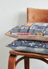 Snowden Flood Ira/Agnes Indigo Textile on Linen Cushion www.snowdenflood.com