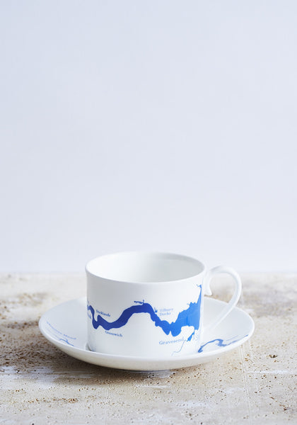 River Thames Cup & Saucer in Blue