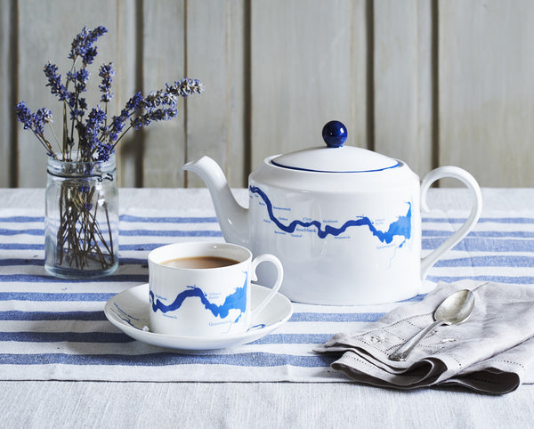 Thames cup & saucer in blue - Snowden Flood