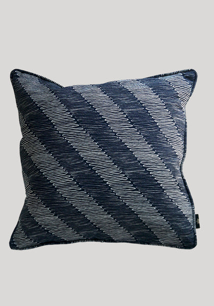 Snowden Flood Raoul/Agnes Indigo/Multi Textile on Linen Cushion www.snowdenflood.com