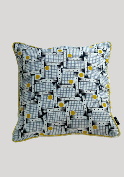 Snowden Flood Bessie/Augie Yellow Textile on Linen Cushion www.snowdenflood.com