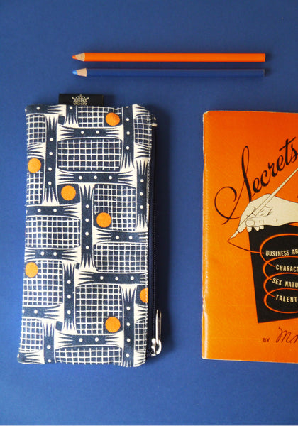 Pencil case in Bessie Indigo Orange