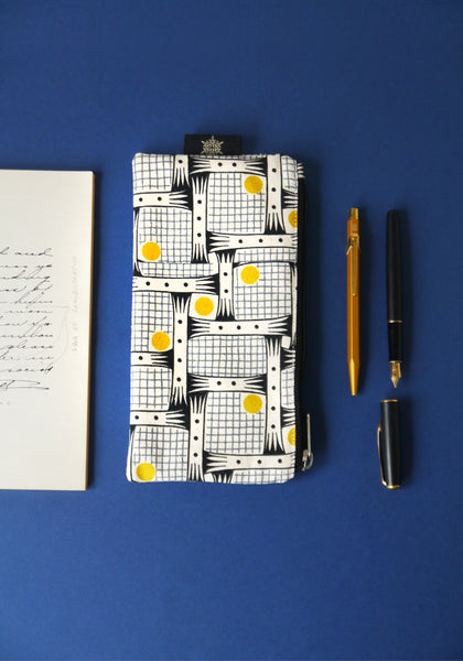 Pencil case in Bessie Yellow/Gray - Snowden Flood - www.snowdenflood.com