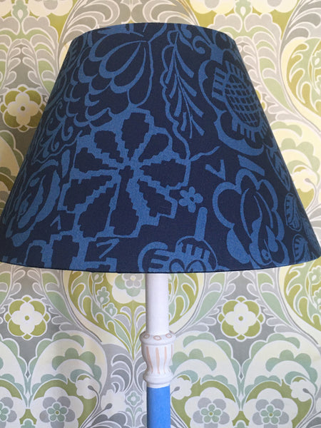Snowden Flood Hand Painted turned beech lamp base in Blue