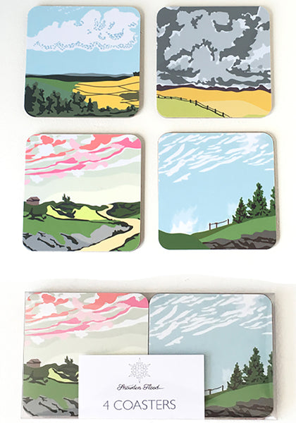 Set of Four Rural landscape Cloudspotter Coasters