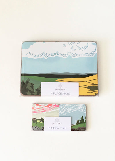 One Set of each - Four Rural landscape Cloudspotter Coasters & Place Mats