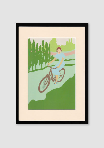 Cycling Lady A4 Print