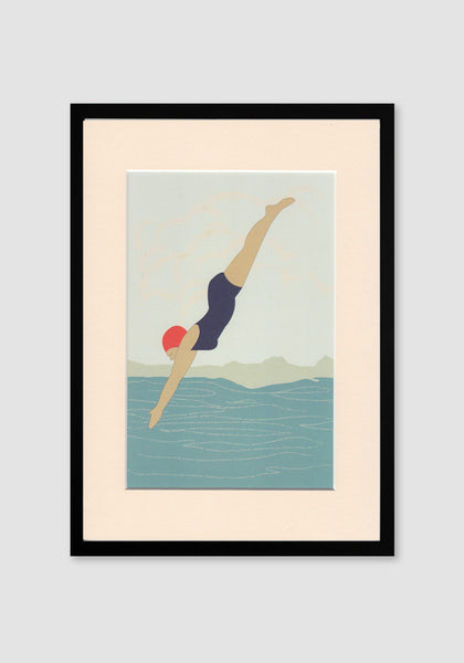 Diving Lady A4 Print