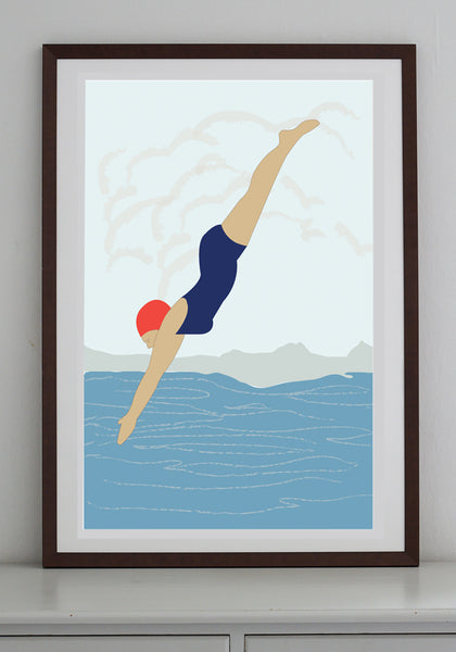 Snowden Flood Diving Lady A1 Art Print