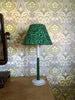 Snowden Flood Hand Painted turned beech lamp base in Green