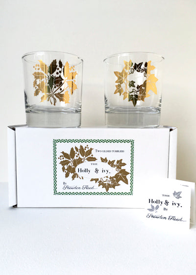 Snowden Flood golden Holly & Ivy set of two glasses