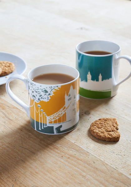 Snowden Flood Large and colourful Tower Bridge Bone china mug www.snowdenflood.com