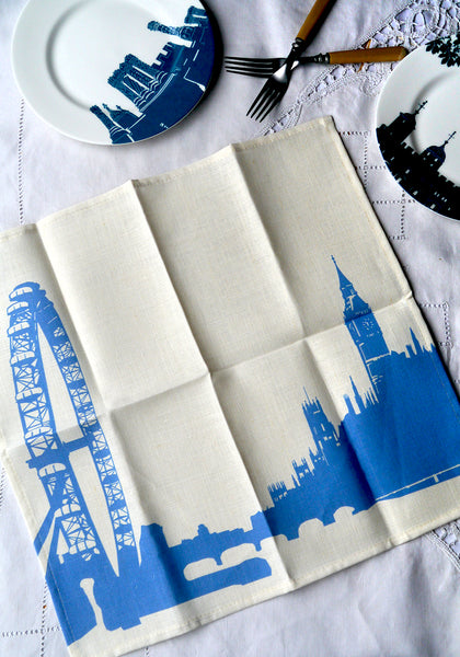 London Eye Blue & white linen napkins