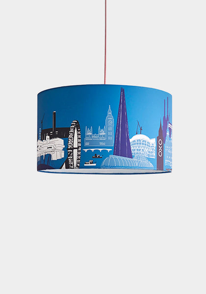 Blue/White London Landmarks Lampshade