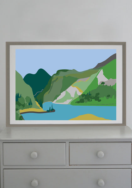 Snowden Flood Art Print Where I'd Like to Be Right Now, Mountains Lake, Alps www.snowdenflood.com