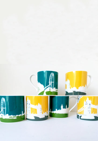 A set of 6 large Colourful London Eye and Tower Bridge mugs, Snowden Flood