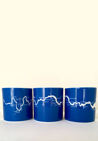 A set of six large River Thames mugs