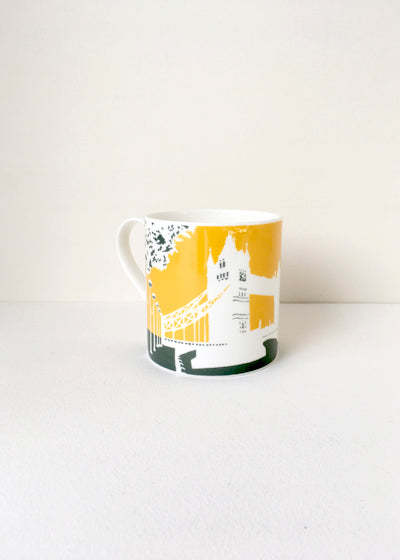 A set of six Large and colourful London Eye & Tower Bridge mugs