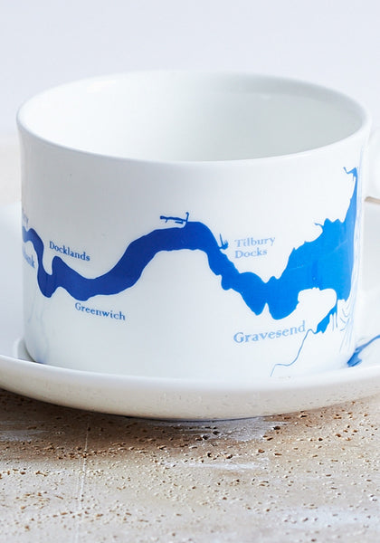DETAIL Thames cup & saucer in blue - Snowden Flood