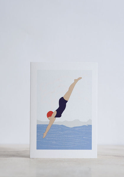 Diving Lady Greeting Card - Snowden Flood shop