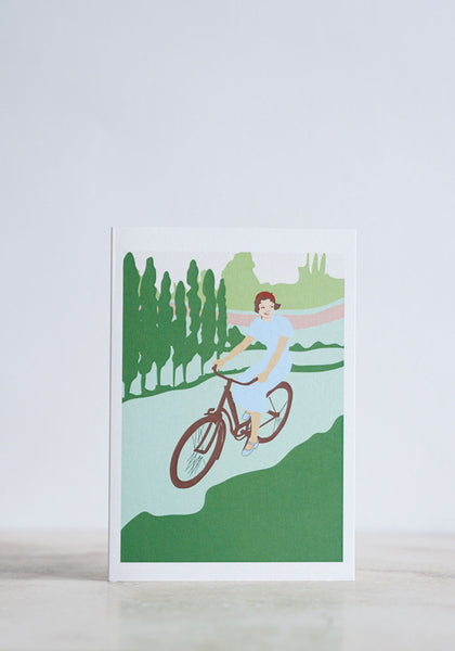 Cycling Lady Greeting Card