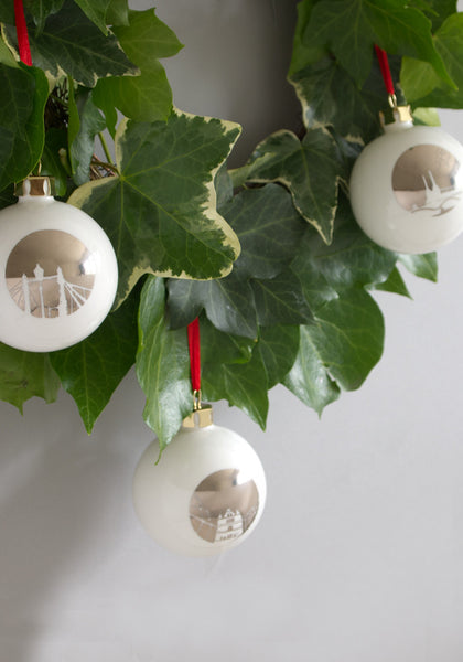 A set of six London Landmark Baubles Snowden Flood