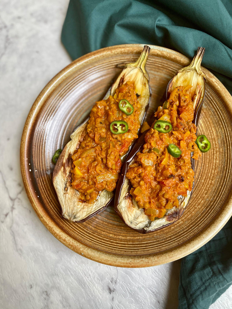 Moroccan Spiced Lentil Eggplant - Eat Earthly
