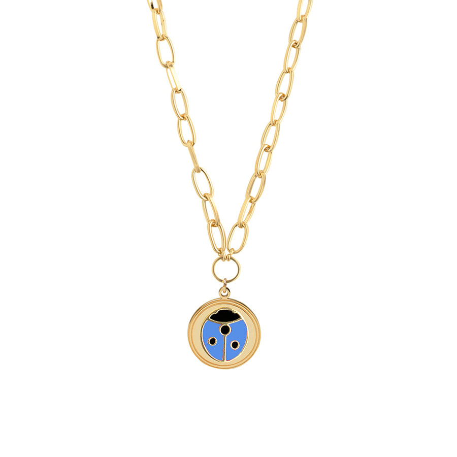 Gold Blue Ladybug Necklace