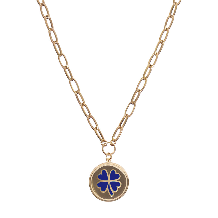 Gold Blue Clover Necklace