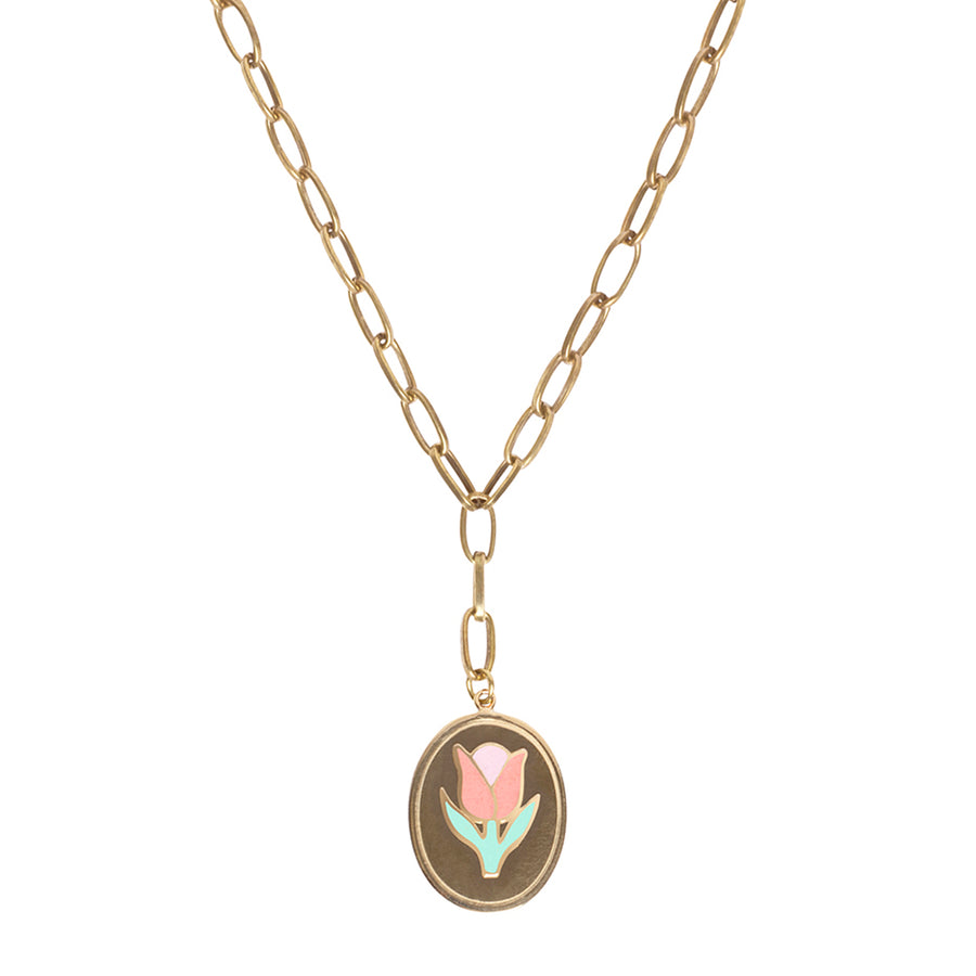 Gold tulip necklace - Wilhelmina Garcia