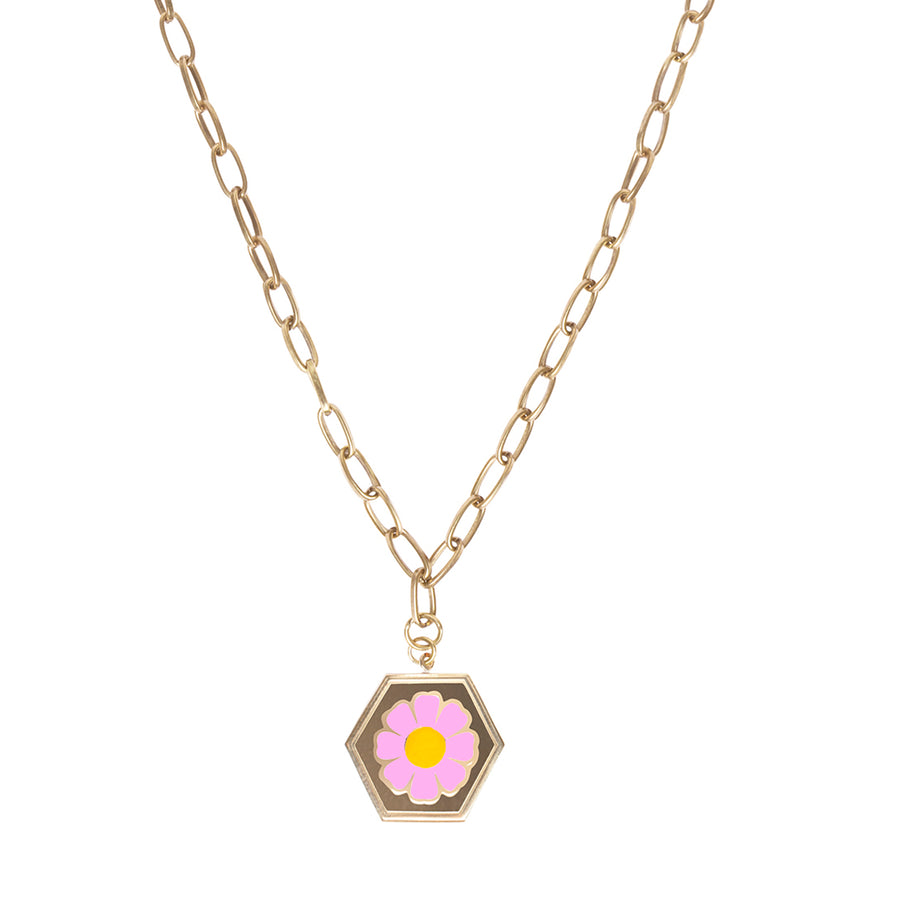 Gold Pink Daisy Necklace