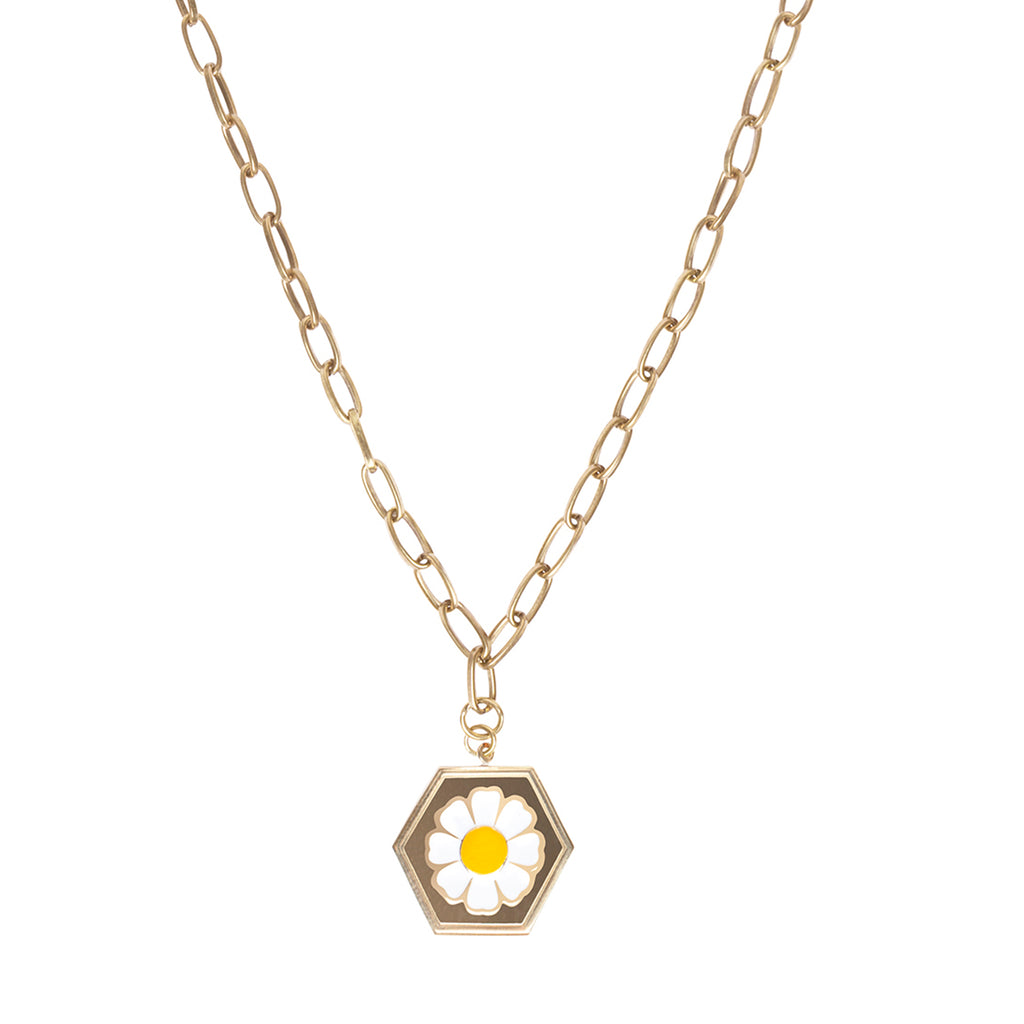 Gold daisy necklace - Wilhelmina Garcia