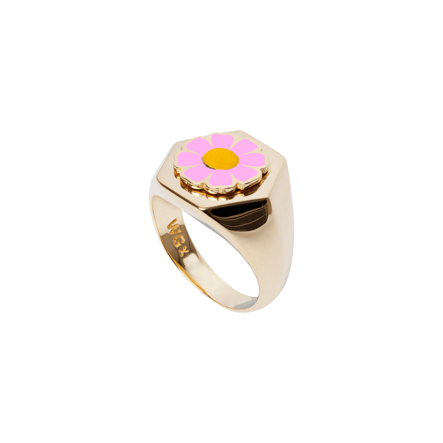 Gold Pink Daisy Ring