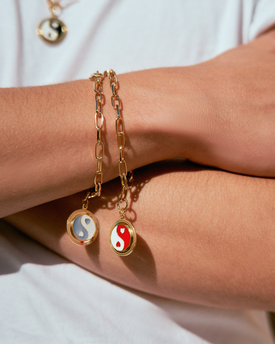 Gold Red Yin Yang Bracelet