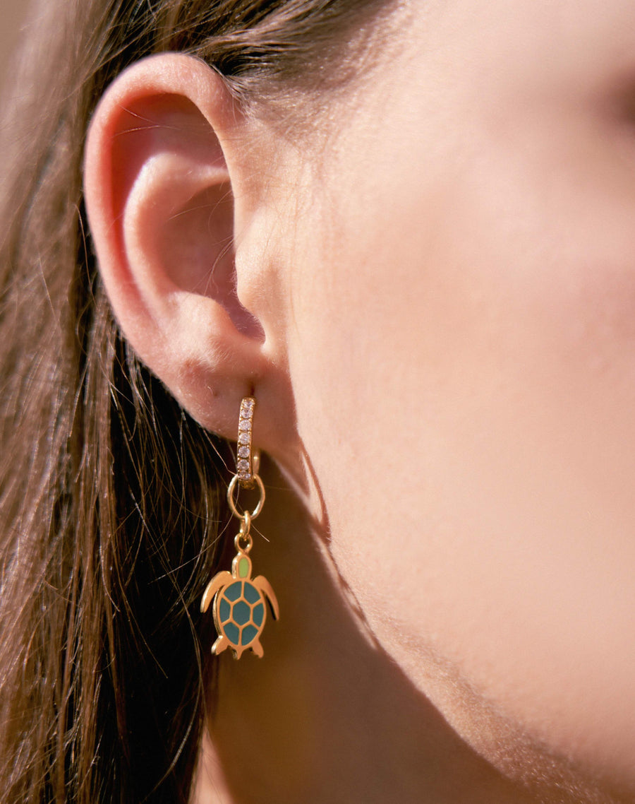 Gold Turtle Big Earring