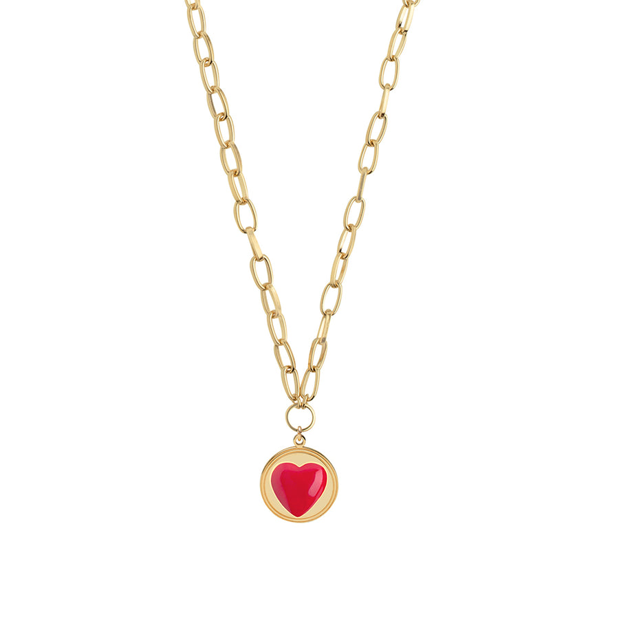 Gold Red Heart Necklace