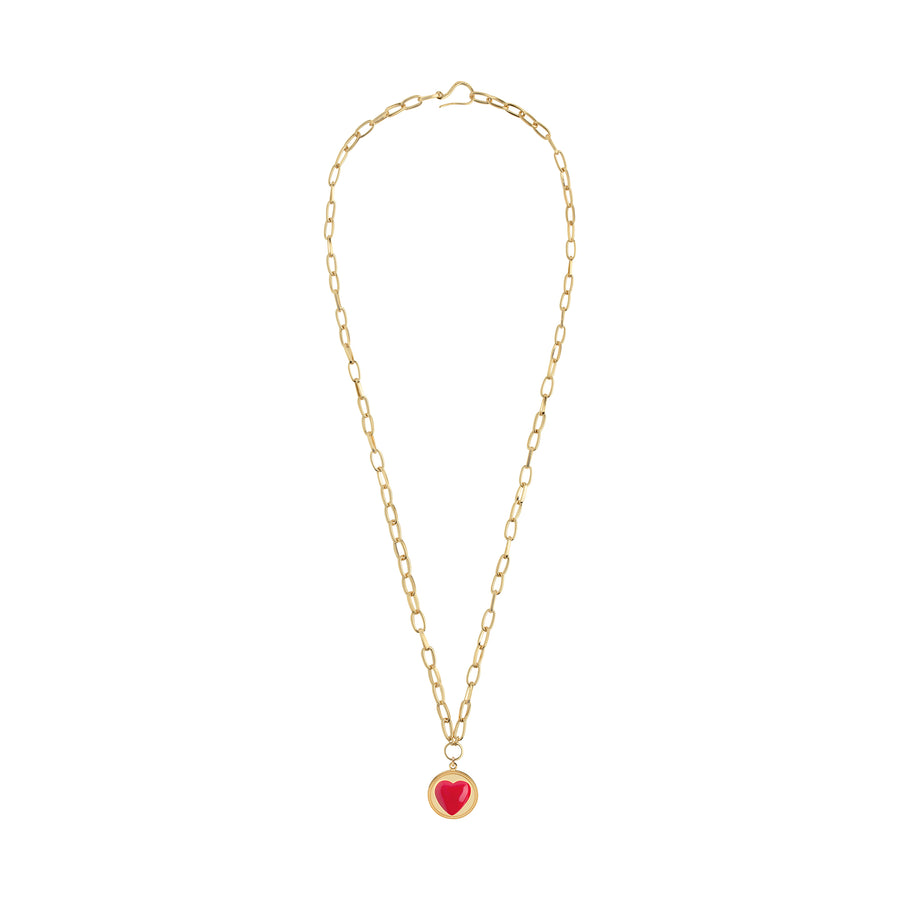 Gold Red Heart Necklace - Wilhelmina Garcia