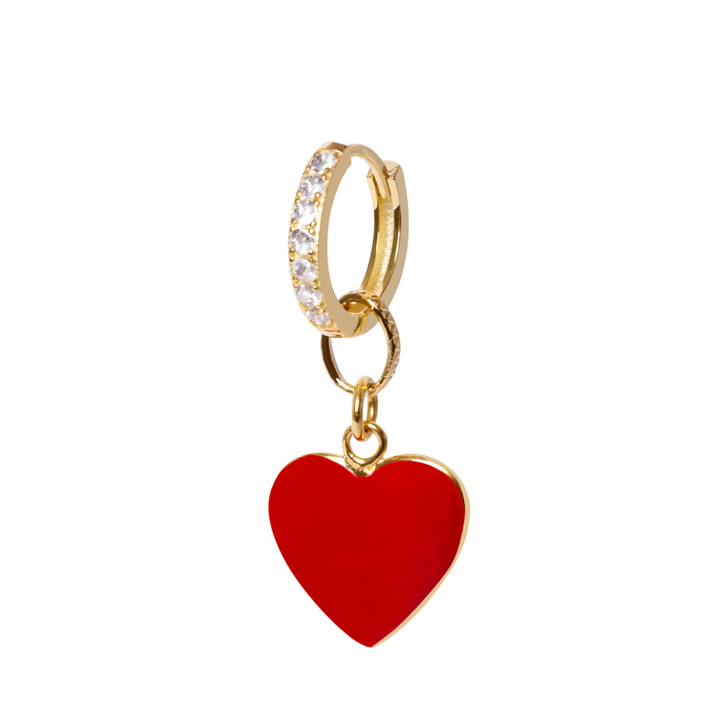 Gold Red Heart Big Earring