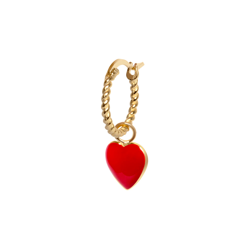 Gold Red Heart Rope Earring
