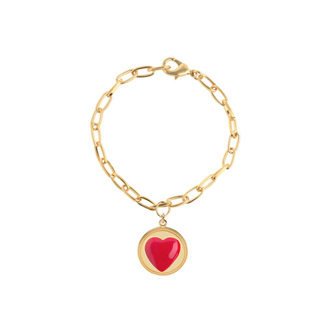 Gold Red Heart Bracelet