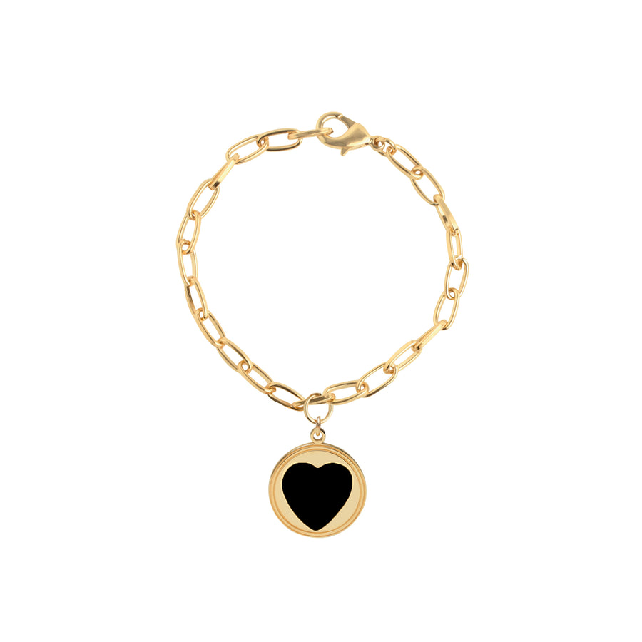 Gold Black Heart Bracelet