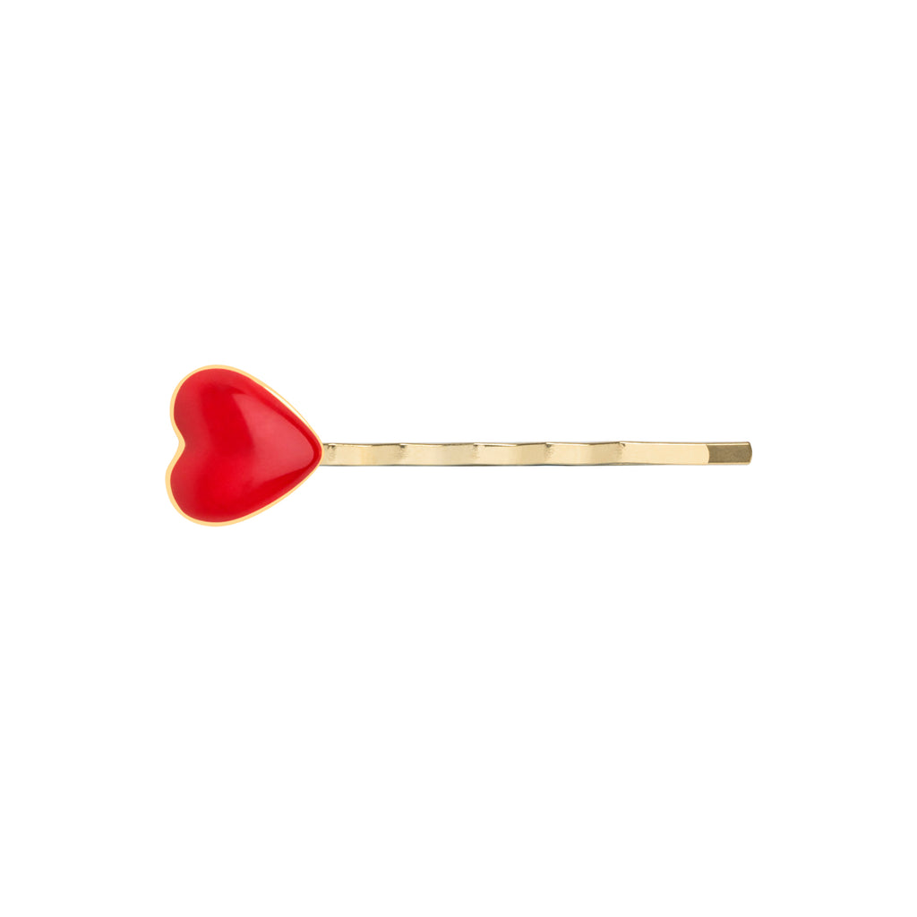 Gold Red Heart Hair Clip