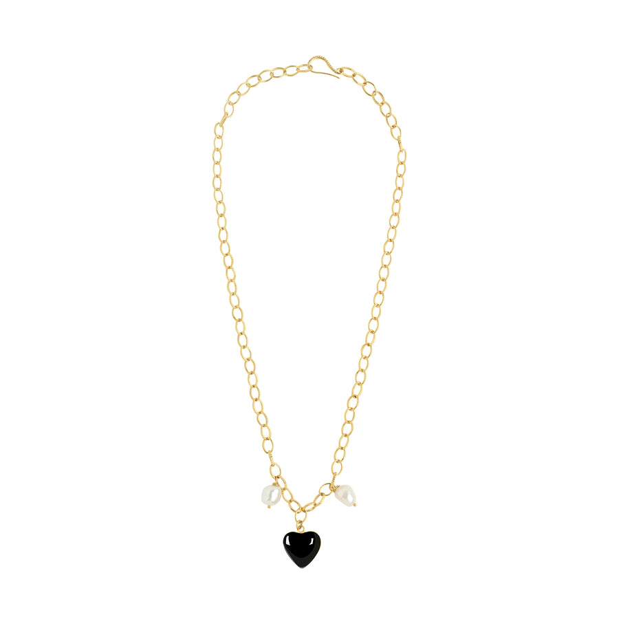 Gold Black Heart Pearl Necklace